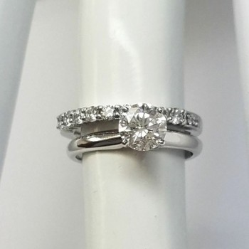 4110  - GIA Certified 1.27 CTW Natural Round Solitaire Engagement Ring White Gold 2 Piec