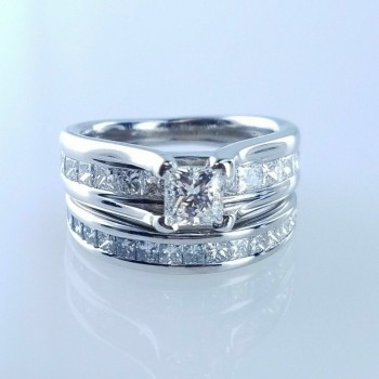 4111  - 1.50ctw GIA 14karat Princess Cut Diamond Engagement Ring & Wedding Band