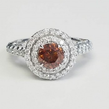 4115  -2.19ctw GIA Natural Fancy Orange Diamond Engagement Ring Halo Pave Certified