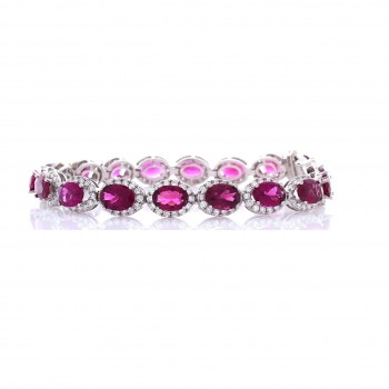 5103 - 12.20 Carat Total Oval Rubelite and Diamond Bracelet in 18 Karat White Gold