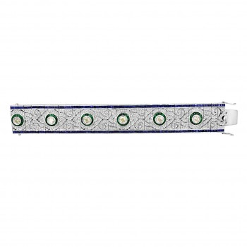 5107 - Antique Style Bracelet with Emerald Diamond Sapphire
