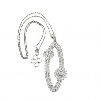 6103  -  Studio Rêves Diamonds Oval Pendant Necklace in 18K White Gold
