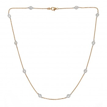 7101   -  14KYW DIAMOND BY THE YARD NECKLACE 10 STONES 4.65 TW