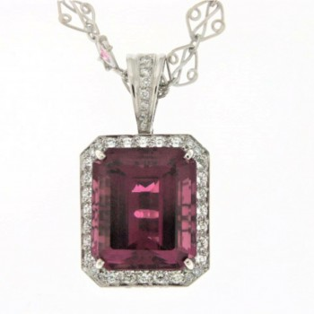 7107   - Pink Tourmaline And Diamond Bold Emerald Cut Necklace In 14k White Gold